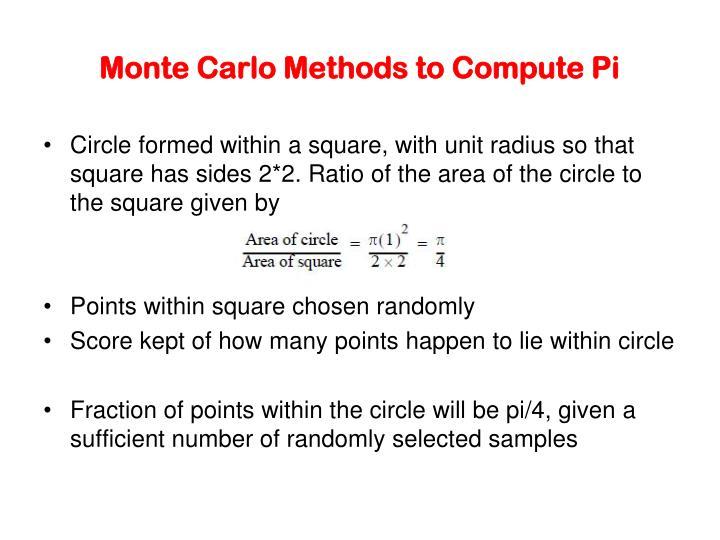 Monte carlo methods to compute pi