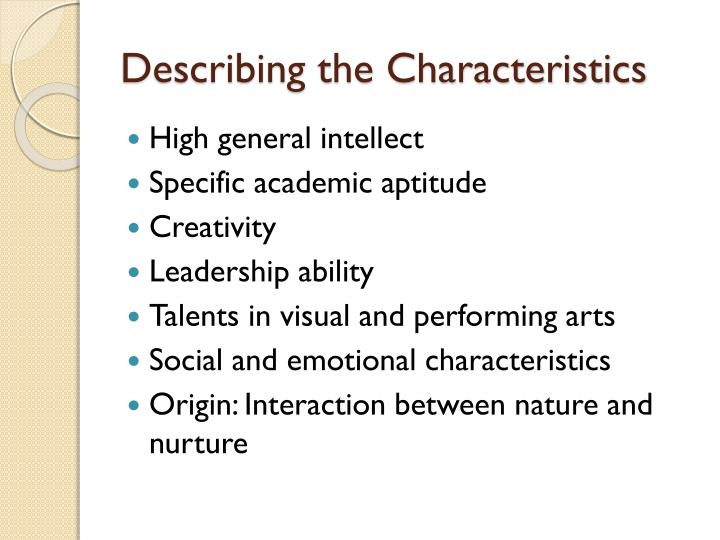 Describing the Characteristics