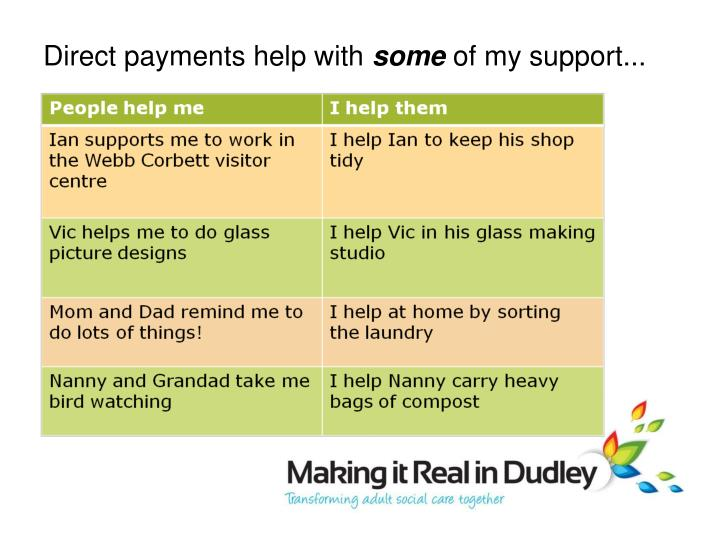 Direct payments help with