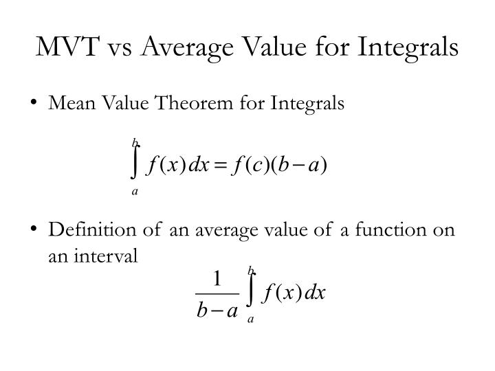 Mvt vs average value for integrals