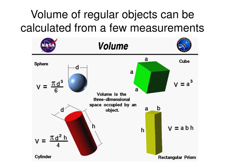 Volume of regular objects can be calculated from a few measurements