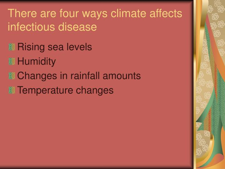 There are four ways climate affects infectious disease