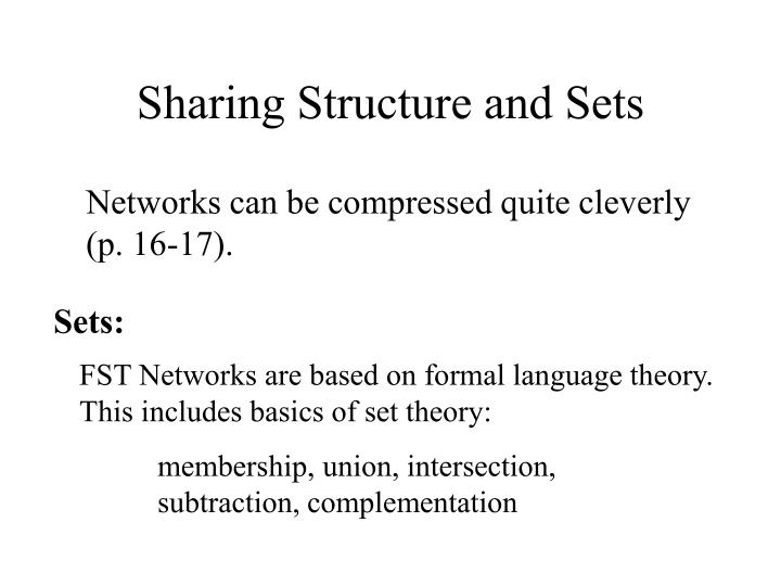 Sharing Structure and Sets