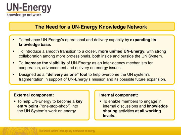 The Need for a UN-Energy Knowledge Network