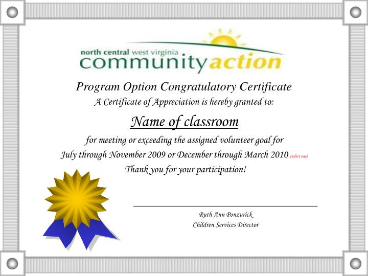 Ppt program option congratulatory certificate a certificate of a certificate of appreciation is hereby granted to yadclub Image collections