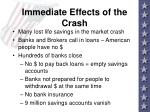immediate effects of the crash