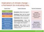 implications of climate change a framework for evaluating risks