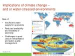 implications of climate change arid or water stressed environments