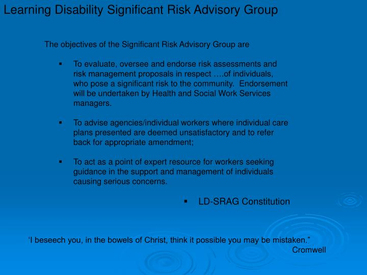 Learning Disability Significant Risk Advisory Group