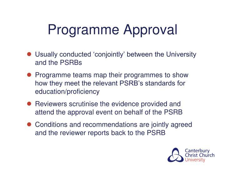 Programme Approval