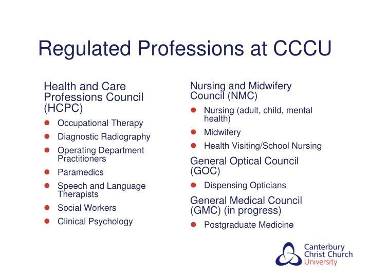 Regulated Professions at CCCU