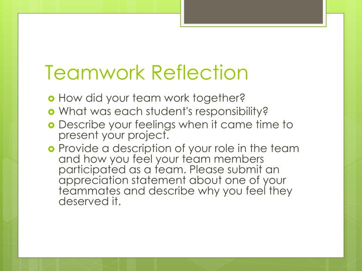 teamwork reflection