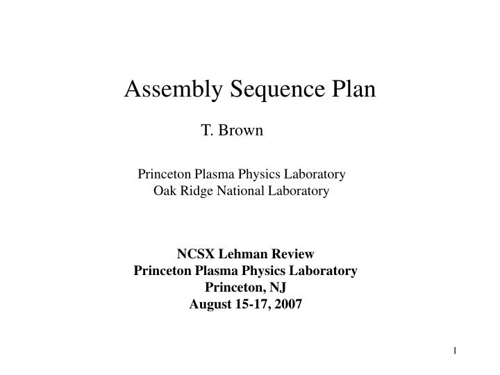 assembly sequence plan n.
