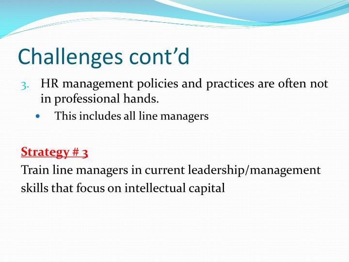 Challenges cont'd