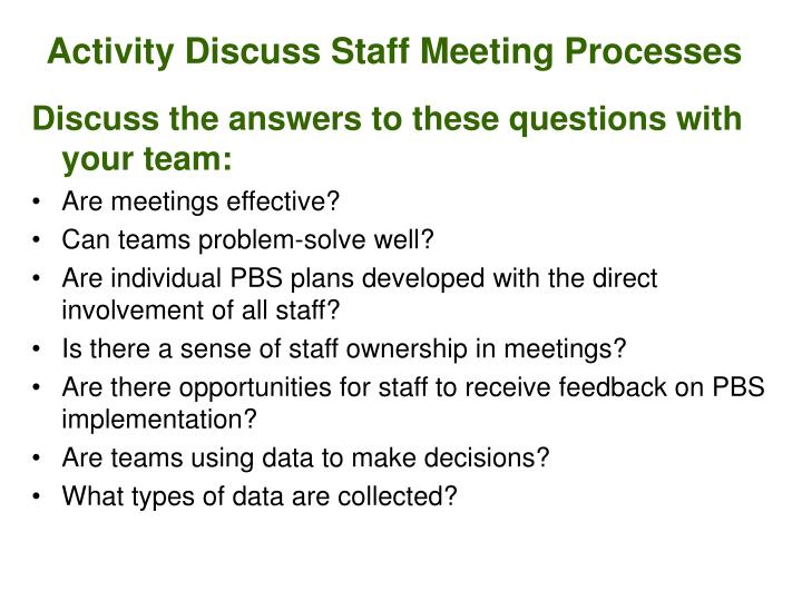 Activity Discuss Staff Meeting Processes