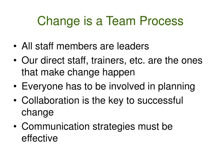 Change is a Team Process
