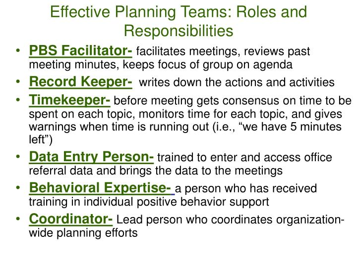 Effective Planning Teams: Roles and Responsibilities
