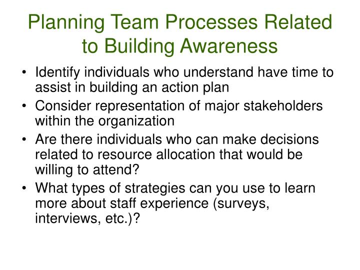 Planning Team Processes Related to Building Awareness