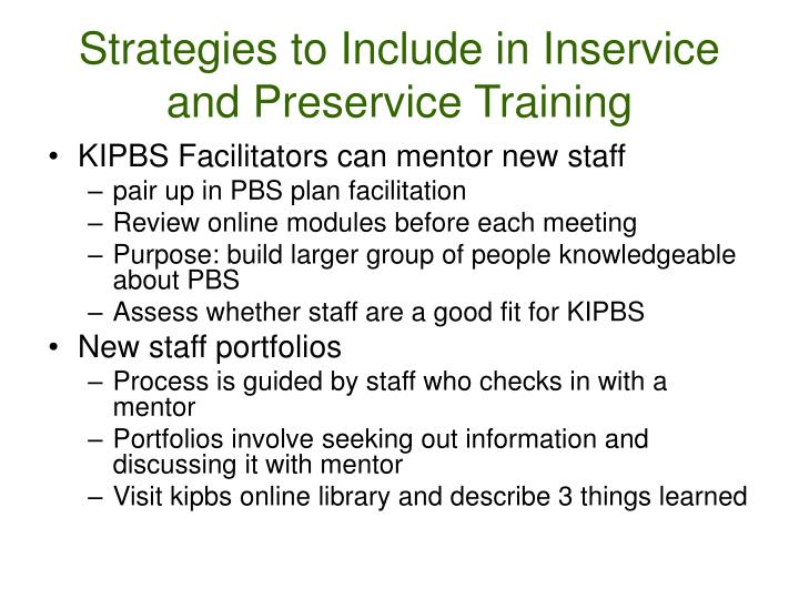 Strategies to Include in Inservice and Preservice Training