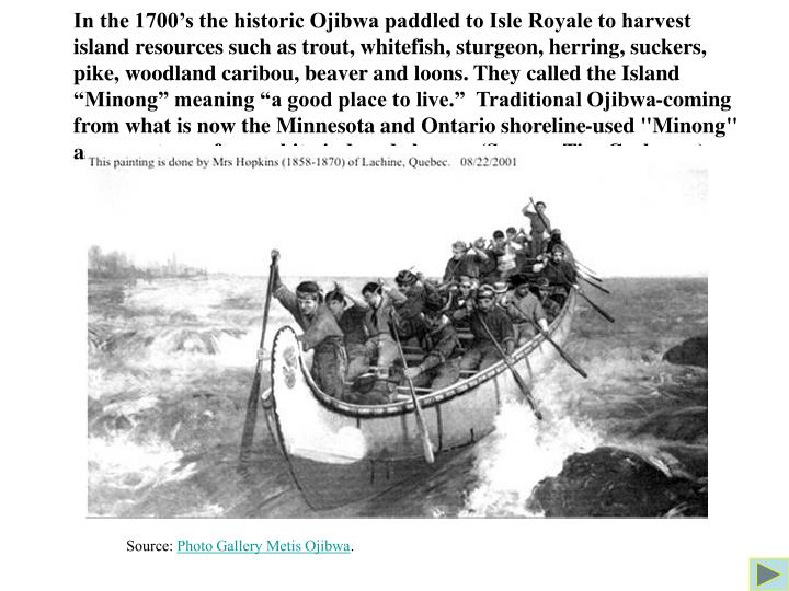 "In the 1700's the historic Ojibwa paddled to Isle Royale to harvest island resources such as trout, whitefish, sturgeon, herring, suckers, pike, woodland caribou, beaver and loons. They called the Island ""Minong"" meaning ""a good place to live.""  Traditional Ojibwa-coming from what is now the Minnesota and Ontario shoreline-used ""Minong"" as a sanctuary from white-induced change. (Source: Tim Cochrane)"