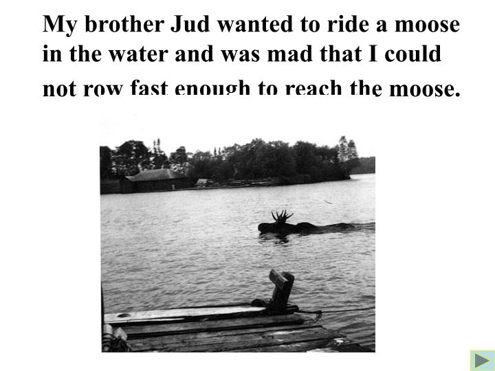 My brother Jud wanted to ride a moose in the water and was mad that I could not row fast enough to reach the moose.