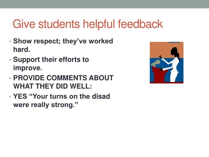 Give students helpful feedback