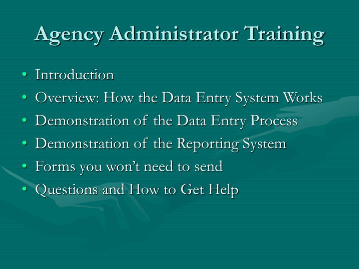 Agency administrator training