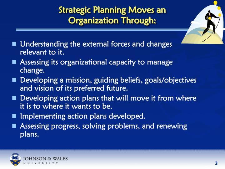 Strategic planning moves an organization through