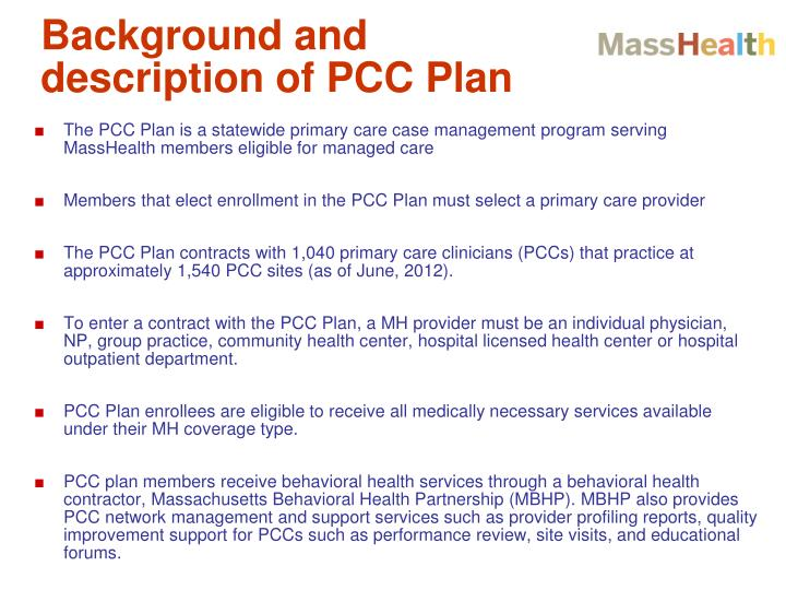 Background and description of PCC Plan