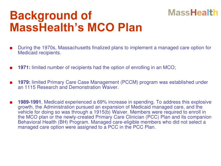 Background of MassHealth's MCO Plan