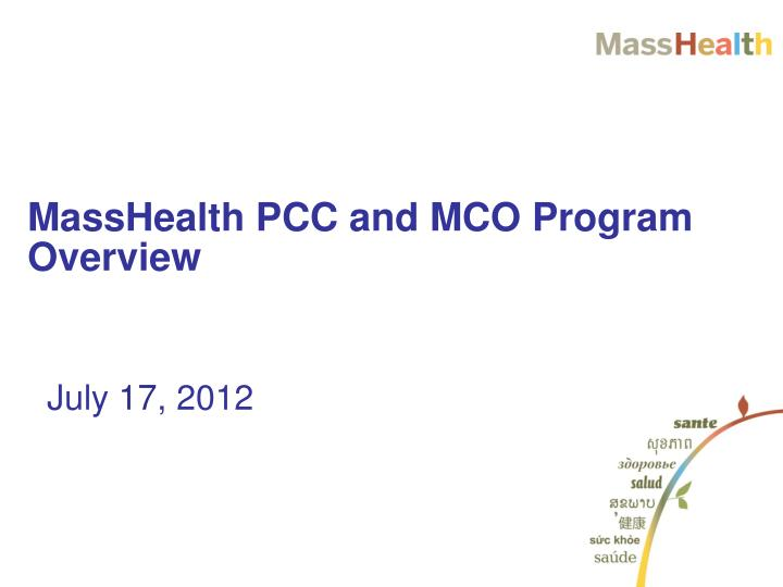 Masshealth pcc and mco program overview