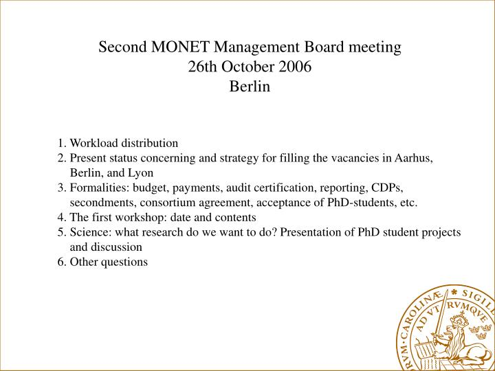Second MONET Management Board meeting