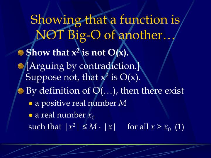 Showing that a function is NOT Big-O of another…