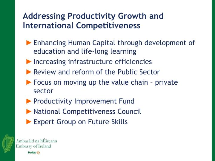 Addressing Productivity Growth and International Competitiveness