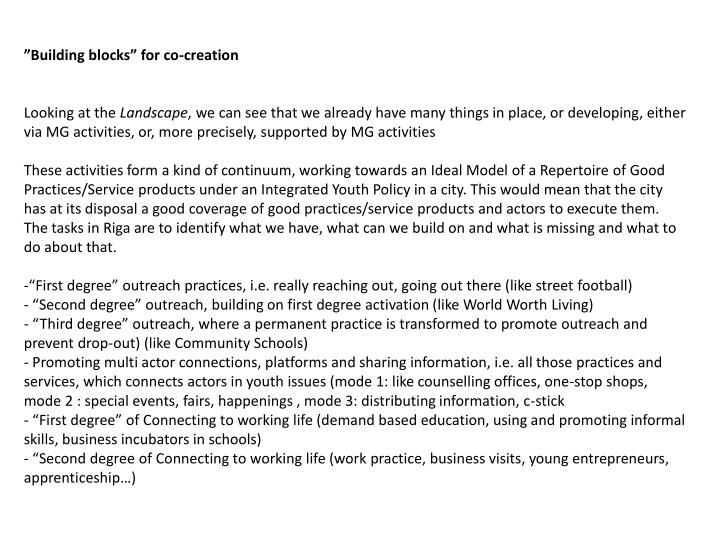 """""""Building blocks"""" for co-creation"""
