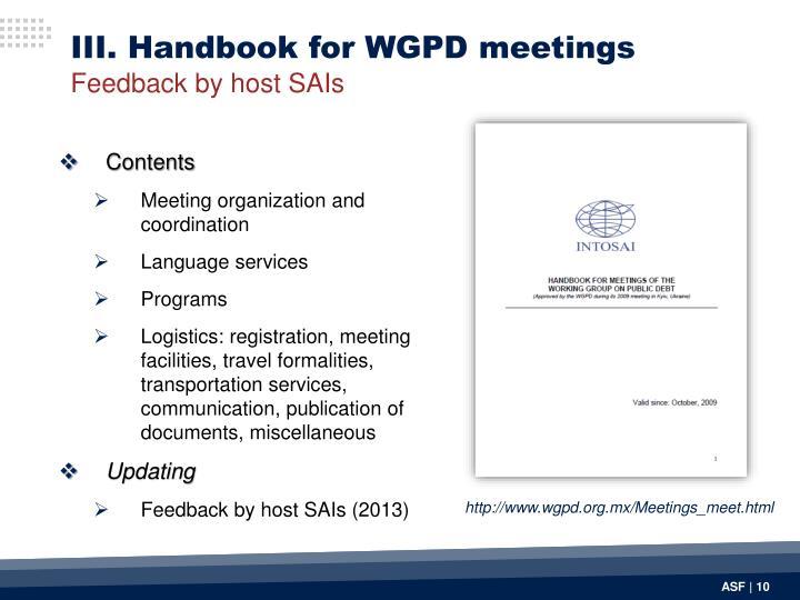 III. Handbook for WGPD meetings