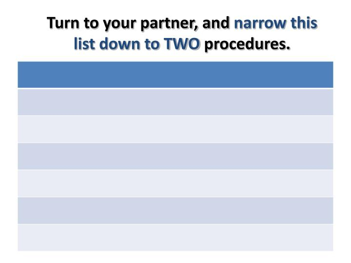 Turn to your partner and narrow this list down to two procedures