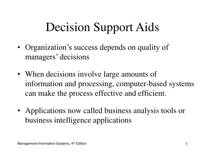 decision support system application Decision support systems (dss) are a class of computerized information system that support decision-making activities dss are interactive computer-based systems and subsystems intended to help decision makers use communications technologies, data, documents, knowledge and/or models to complete decision process tasks.