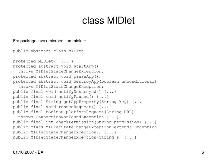 class MIDlet