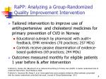 rapp analyzing a group randomized quality improvement intervention