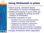 using shibboleth in pilots