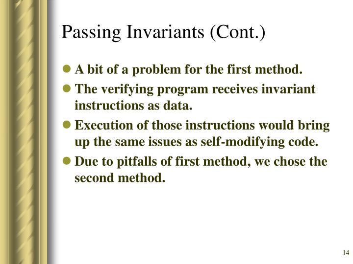 Passing Invariants (Cont.)