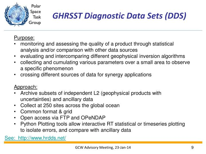 GHRSST Diagnostic Data Sets (DDS)