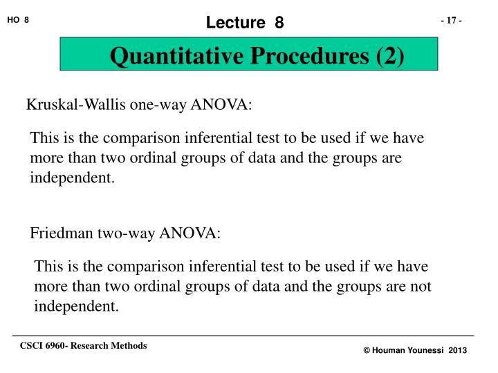 Kruskal-Wallis one-way ANOVA: