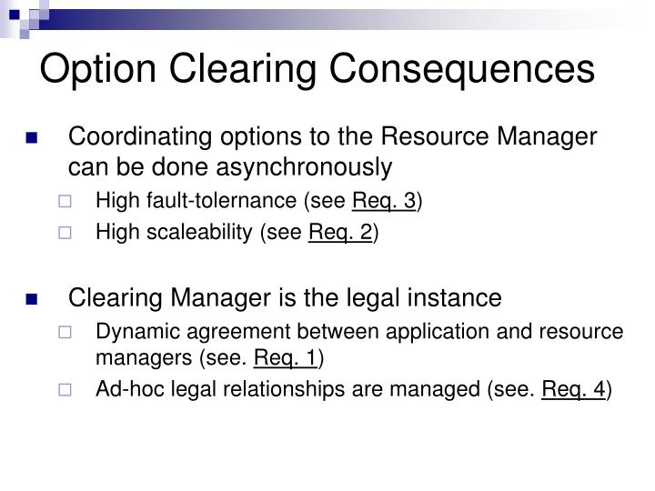 Option Clearing Consequences