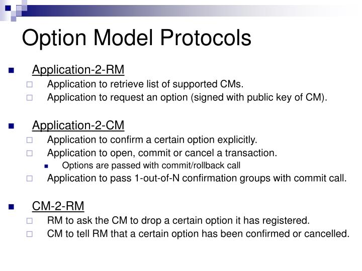 Option Model Protocols