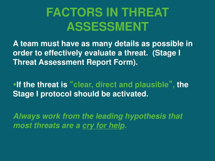 FACTORS IN THREAT ASSESSMENT