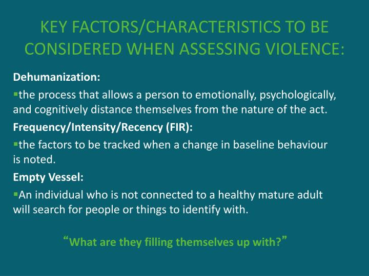 KEY FACTORS/CHARACTERISTICS TO BE CONSIDERED WHEN ASSESSING VIOLENCE: