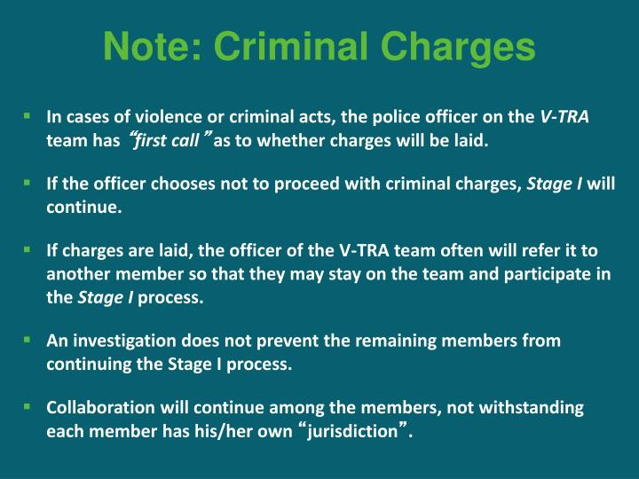 Note: Criminal Charges