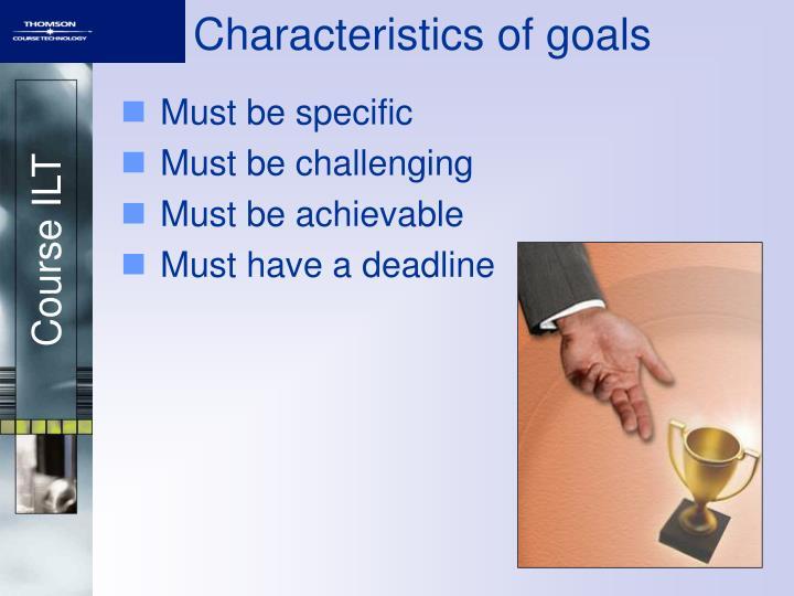 Characteristics of goals